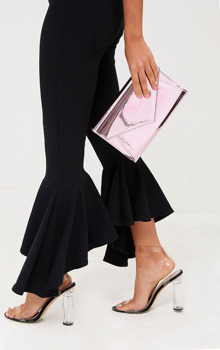 Pink Metallic Envelope Clutch