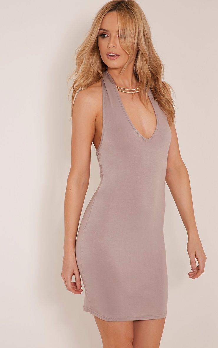 Frankie Taupe Halterneck Bodycon Dress 1