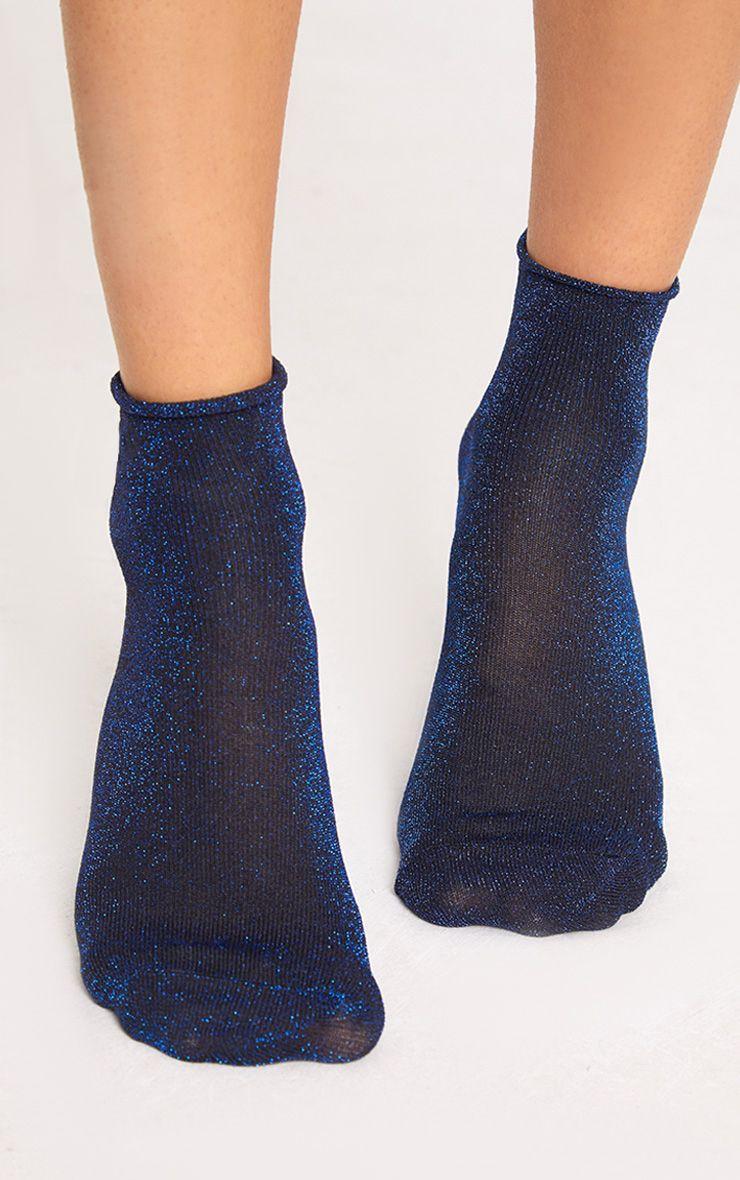 Blue 3 Pack Of Glitter Socks