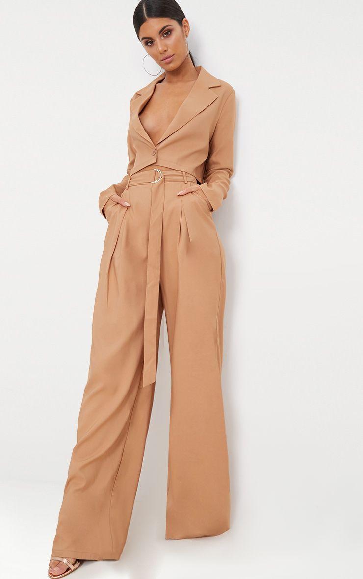 Camel Wide Leg Tie Waist Trousers 1