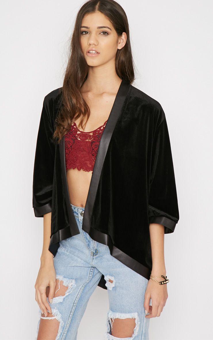 Eliza Black Silk Trim Velvet Kimono Jacket 1