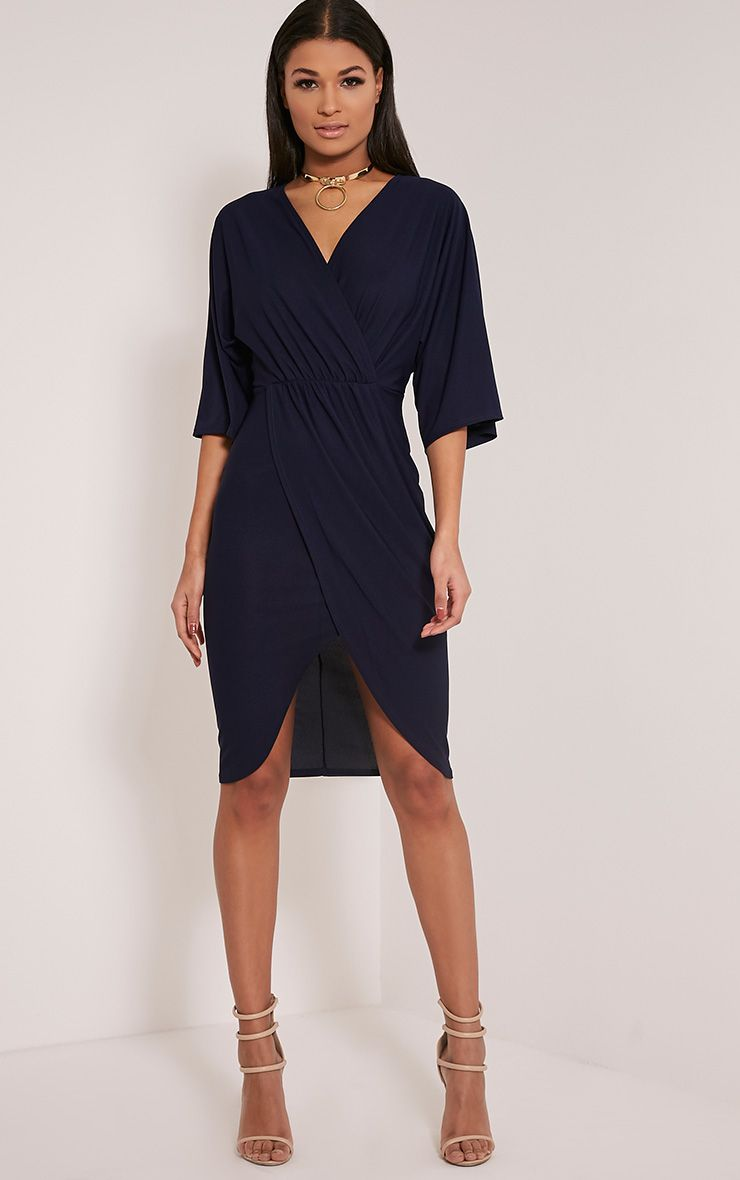 Archer Navy Cape Midi Dress