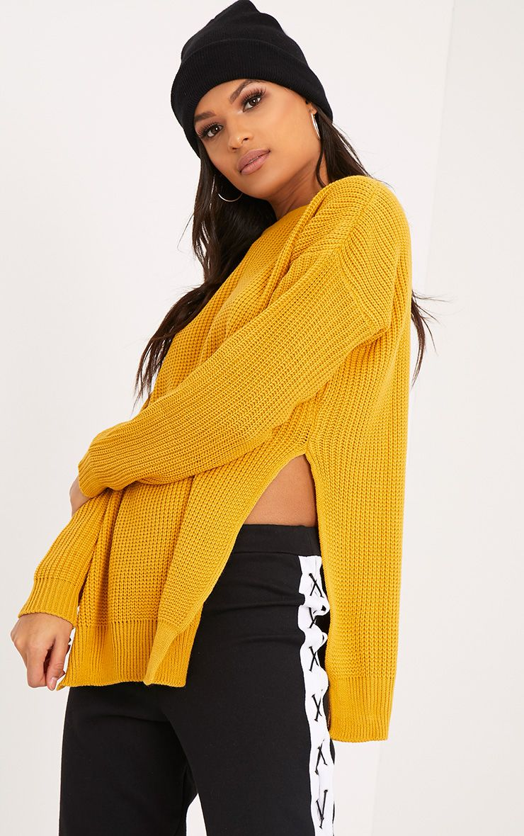 Rexx Mustard Round Neck Side Split Jumper