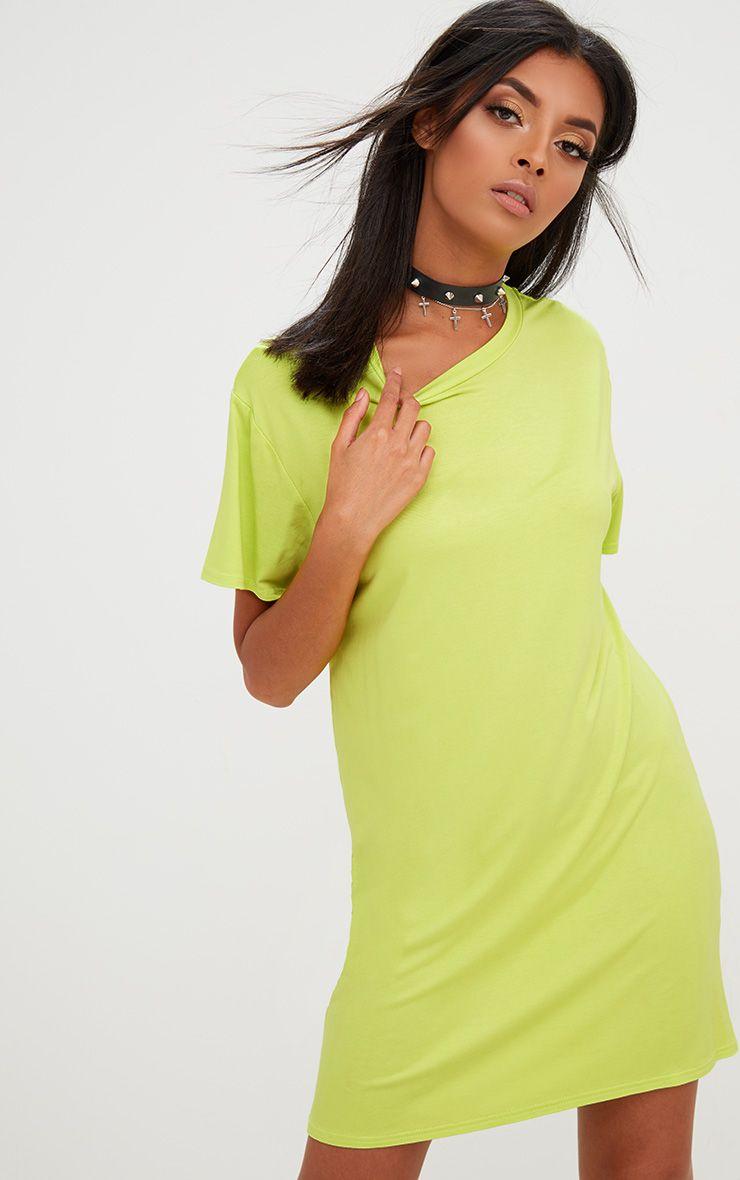 Basic Acid Green Short Sleeve T-Shirt Dress