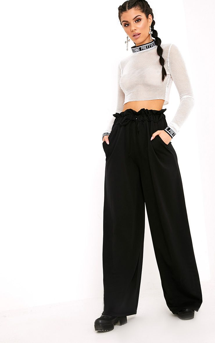 Jessey Black Paperbag Wide Leg Trousers