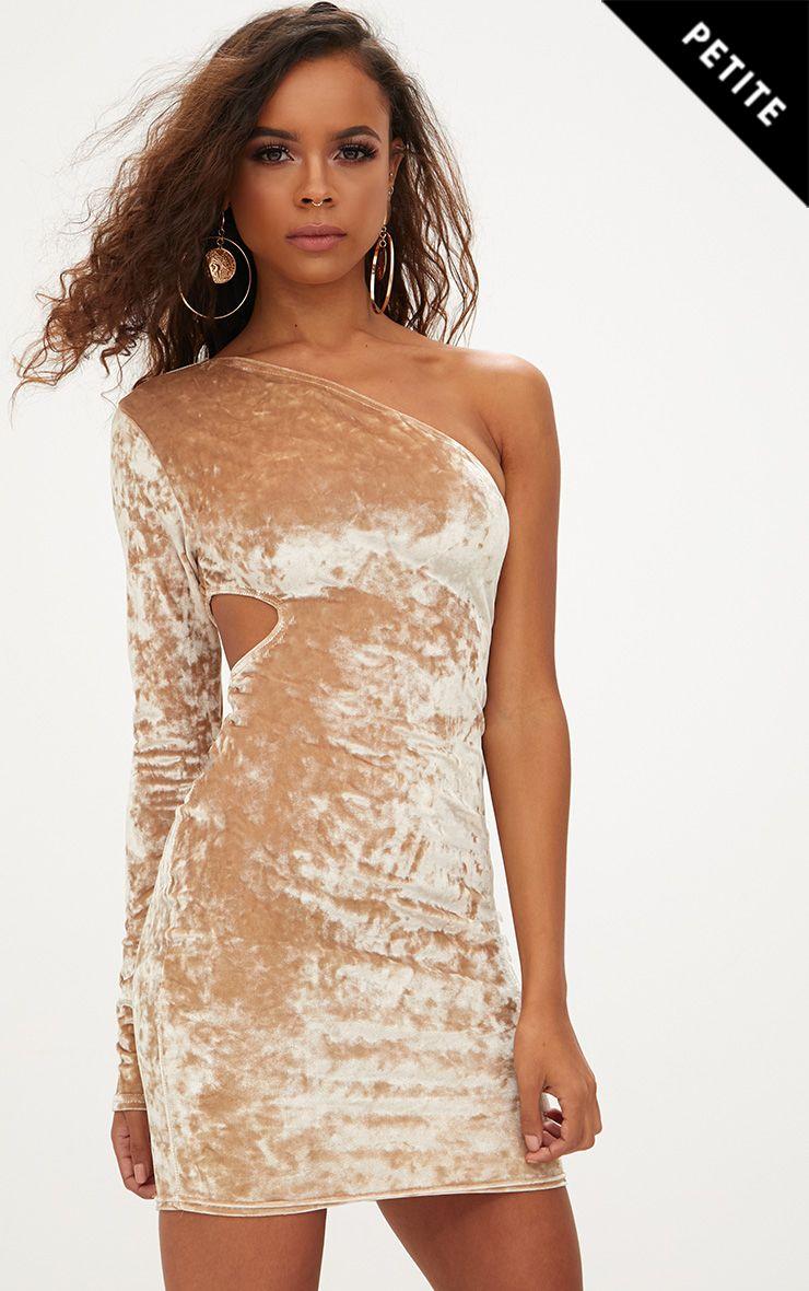 Petite Champagne Crushed Velvet One Shoulder Cut Out Dress