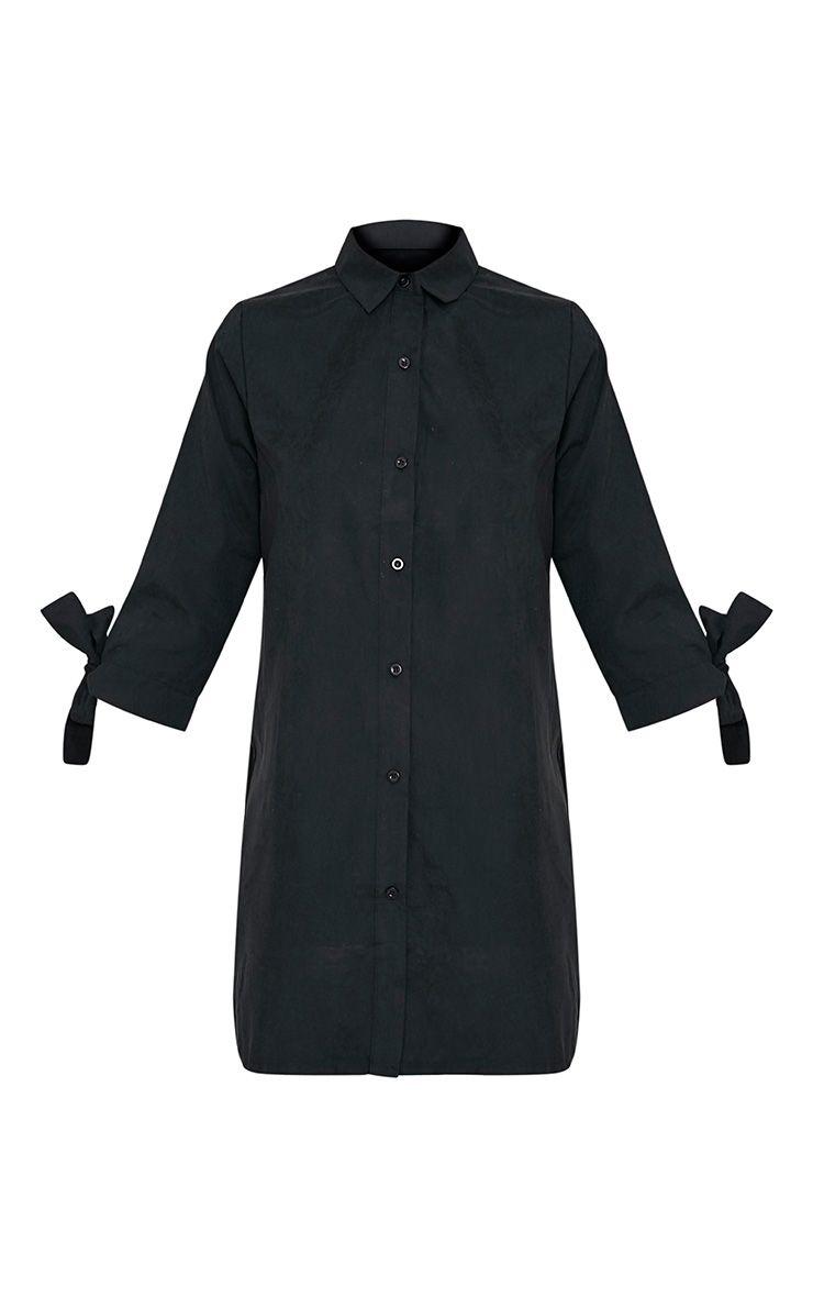 Maysia robe chemise détail manchettes noire 3