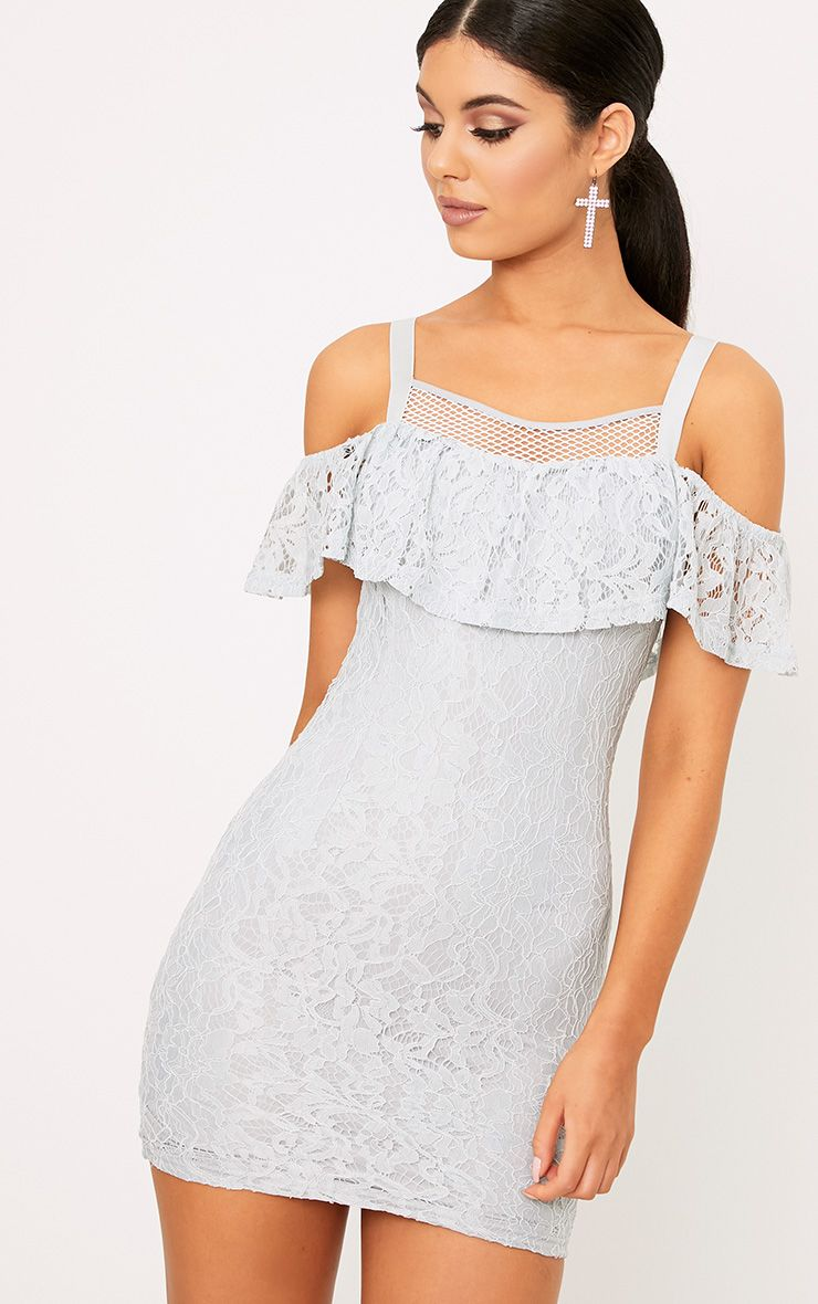 Tiyrah Dusty Blue Lace Ruffle Cold Shoulder Bodycon Dress