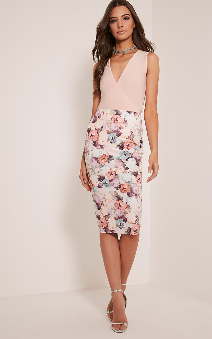 Miny White Floral Print Scuba Midi Skirt 1
