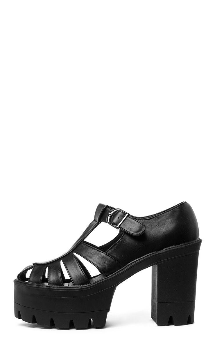 Jamiya Black Cut Out Heeled Sandals  1