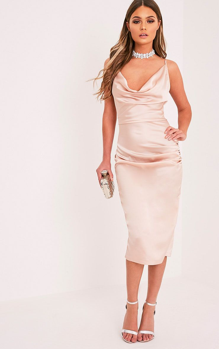 Jaydia Champagne Silky Cowl Neck Midi Dress Dresses