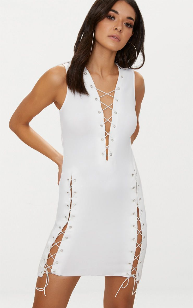 White Eyelet Lace Up Detail Bodycon Dress