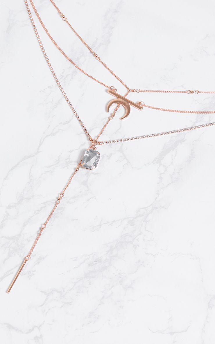 Collier rose gold superposition de cha nes avec pendentif fausse pierre pr cieuse accessoires - Fausse pierre precieuse ...