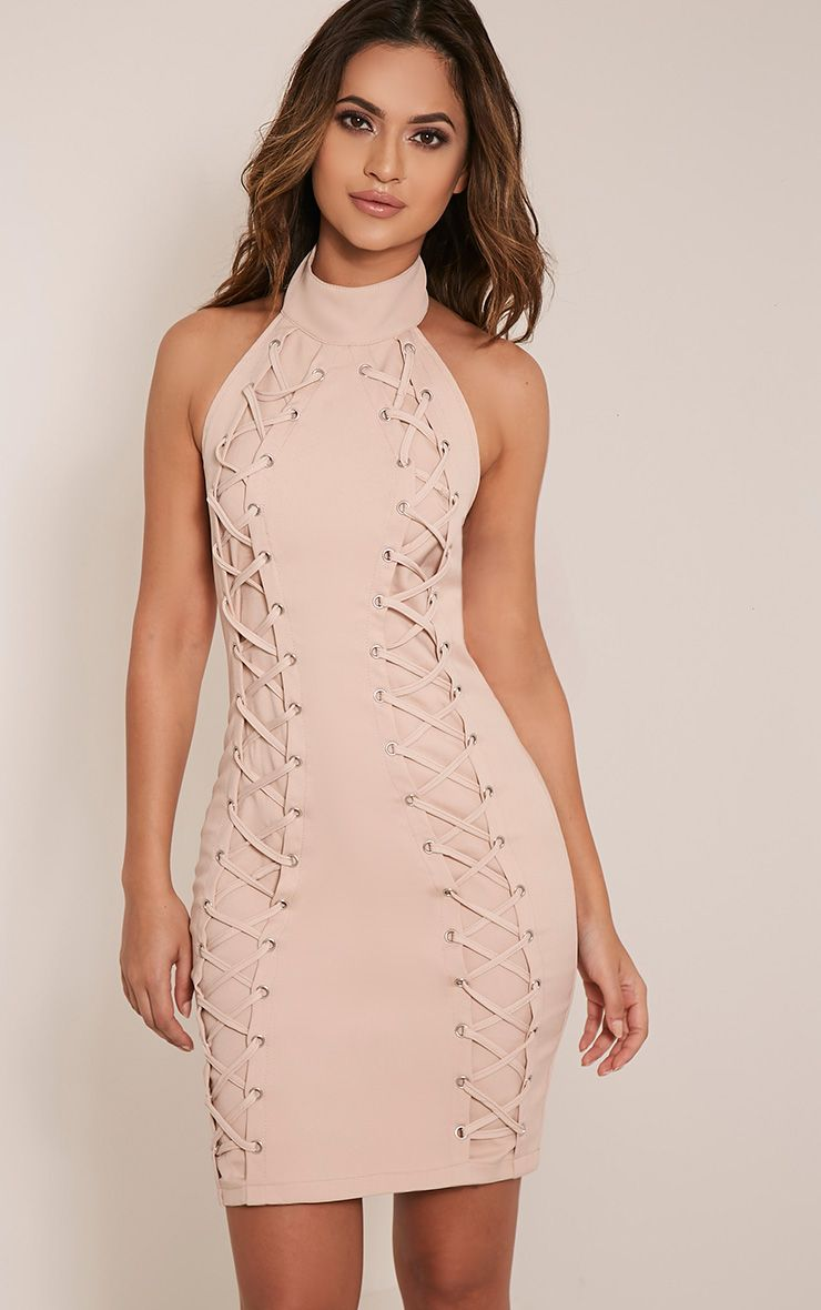 Milla Nude Lace Up High Neck Bodycon Dress 1