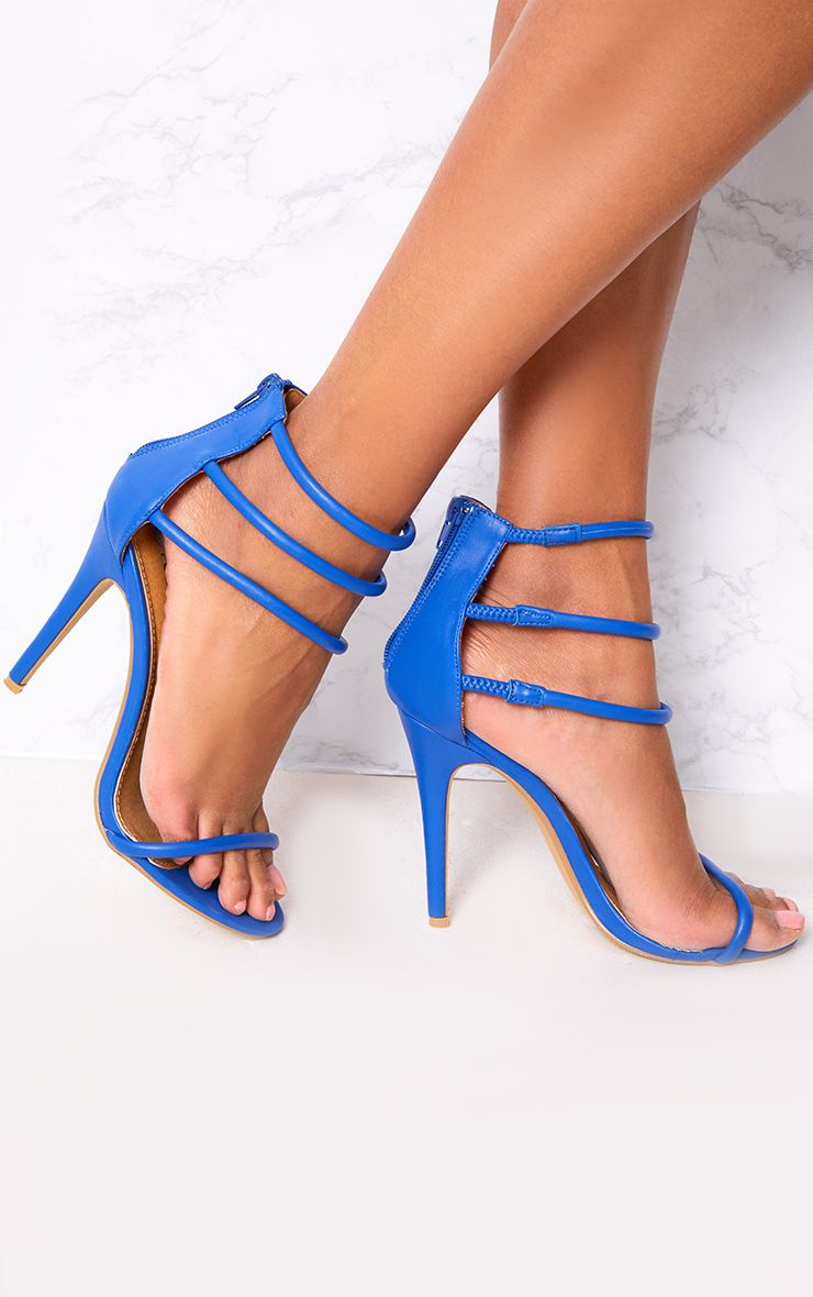 Cobalt Strappy Heeled Sandals 1