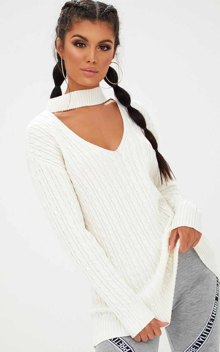 Cream Choker Knitted Jumper