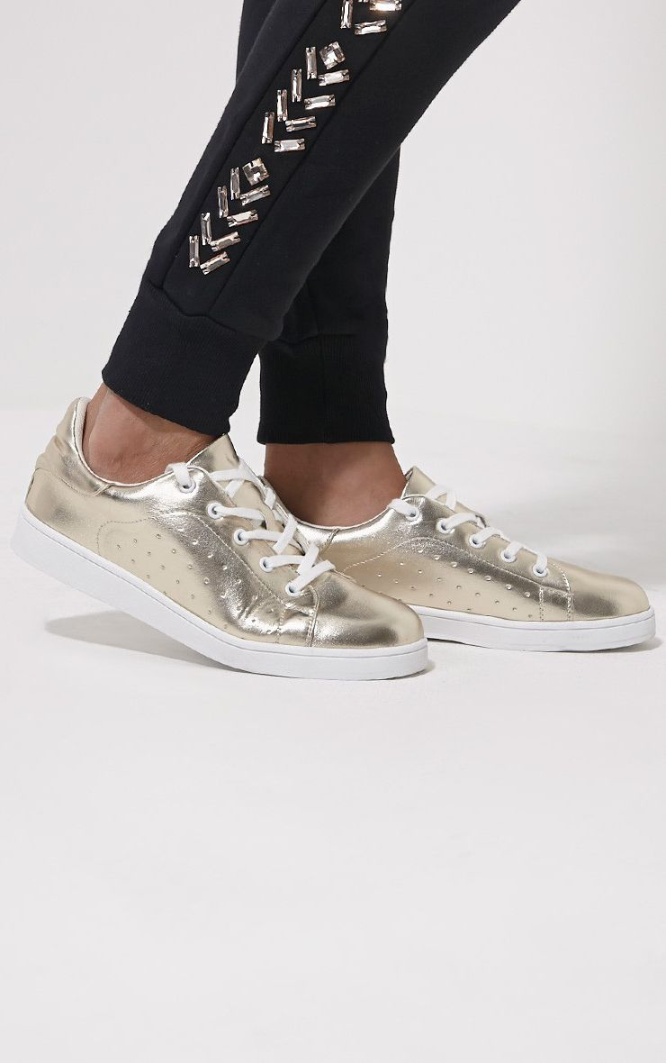 Zina Gold Lace Up Trainers 1