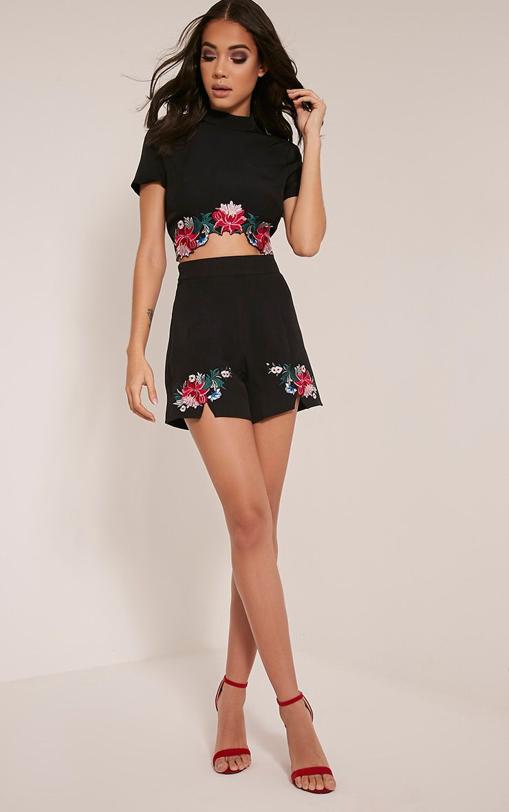 Charis Black Floral Embroidered Shorts 1