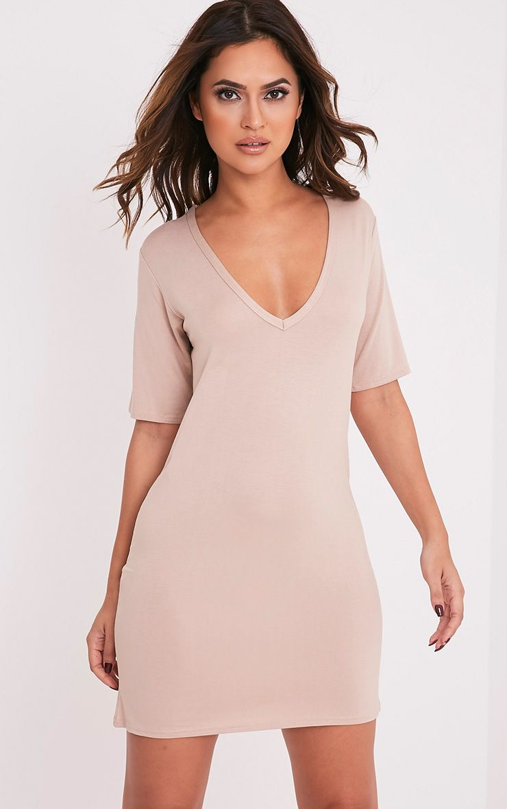 Basic Nude Plunge V Neck T shirt dress
