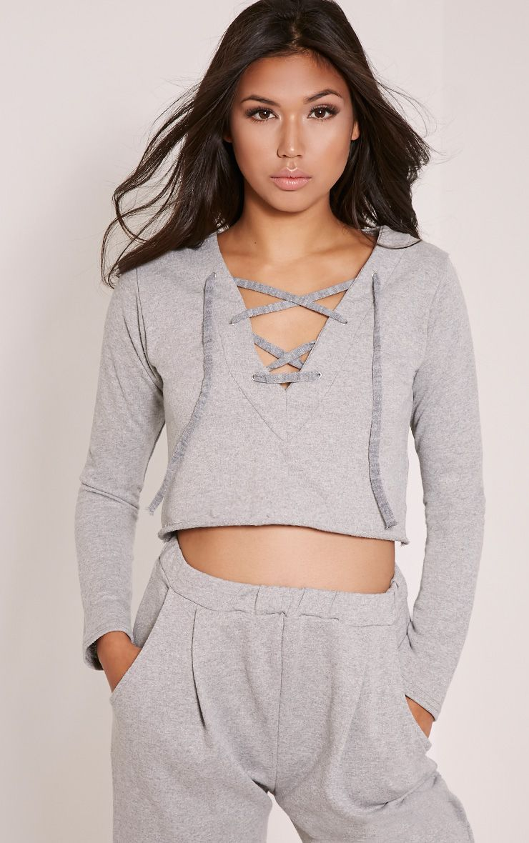 Theah Grey Lace Up Crop Sweater 1