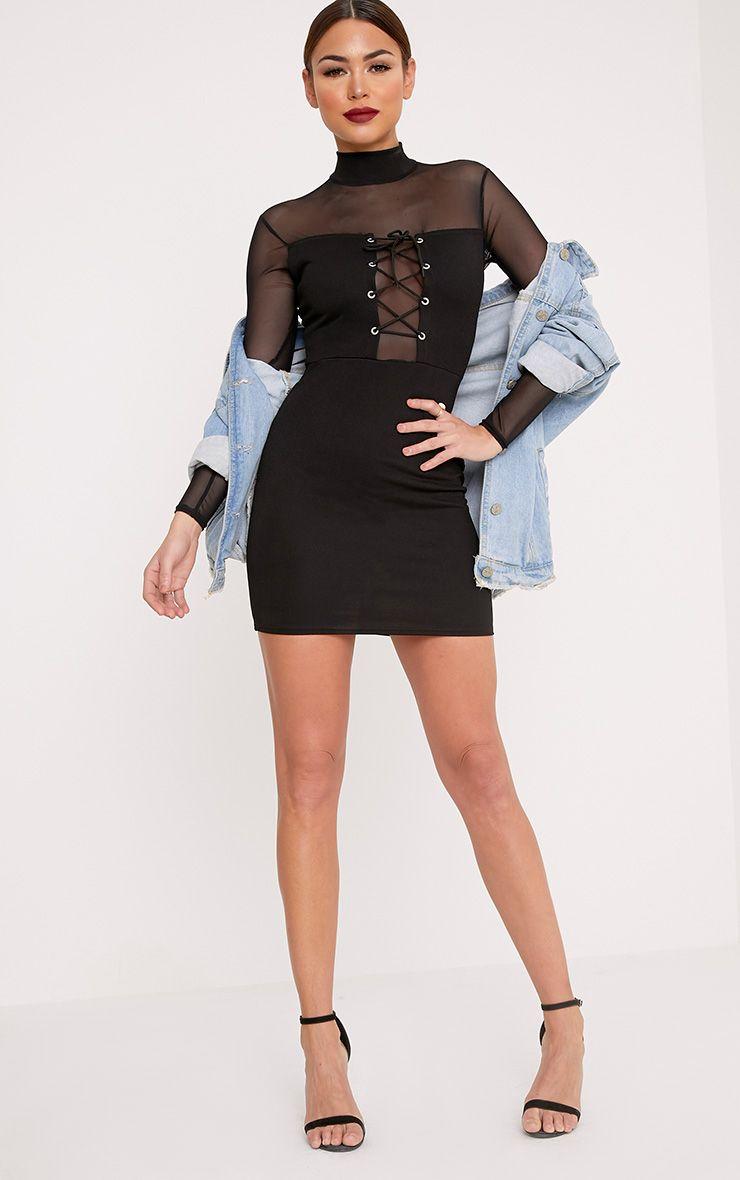 Kelissia Black Corset Detail Mesh Bodycon Dress