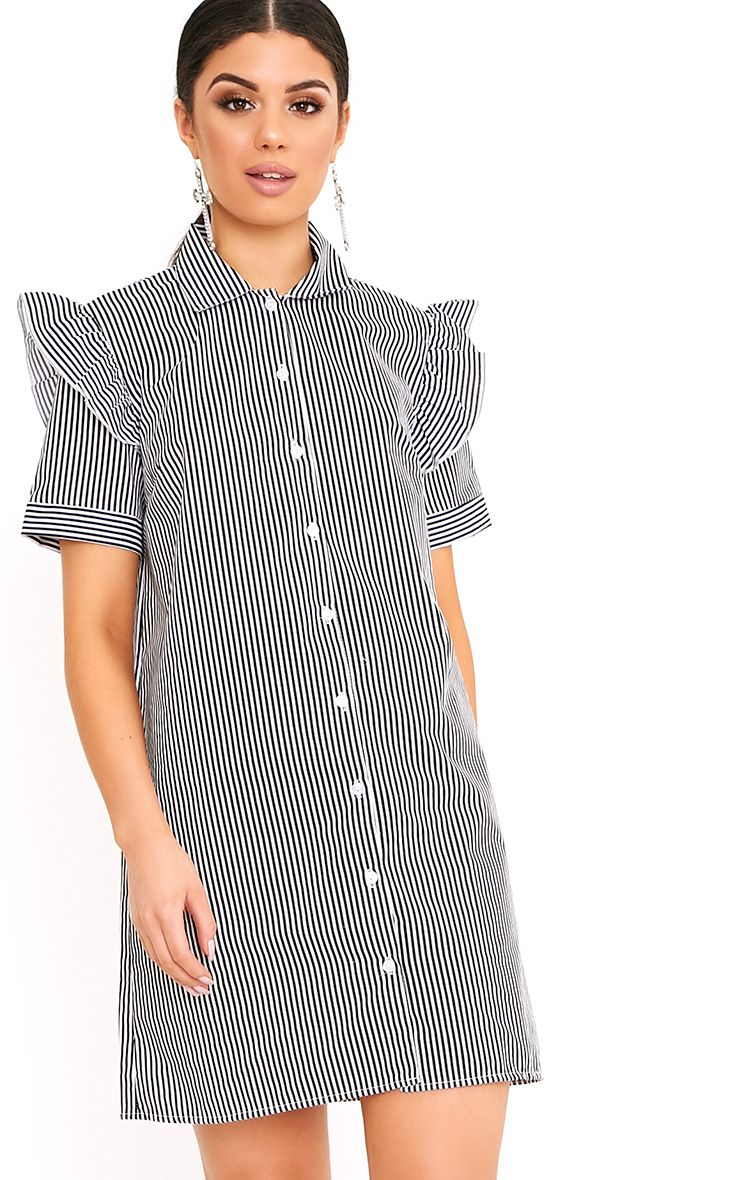 Wendayar Black Stripes Frill Short Sleeve Shirt Dress