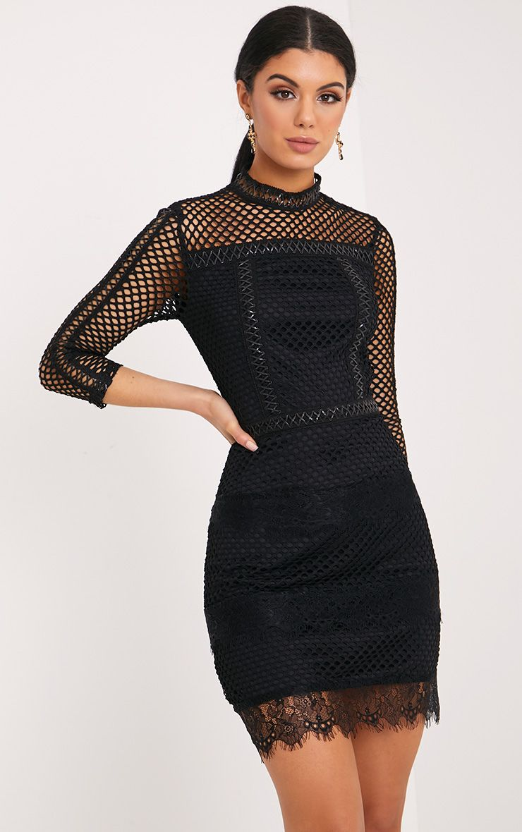 Jamey Black High Neck Leather Trim Fishnet Bodycon Dress