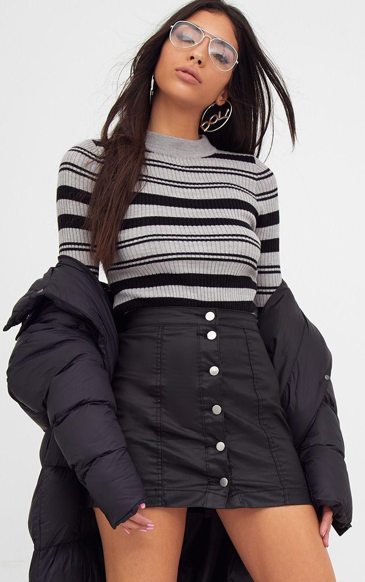 Grey Stripe Knitted Jumper