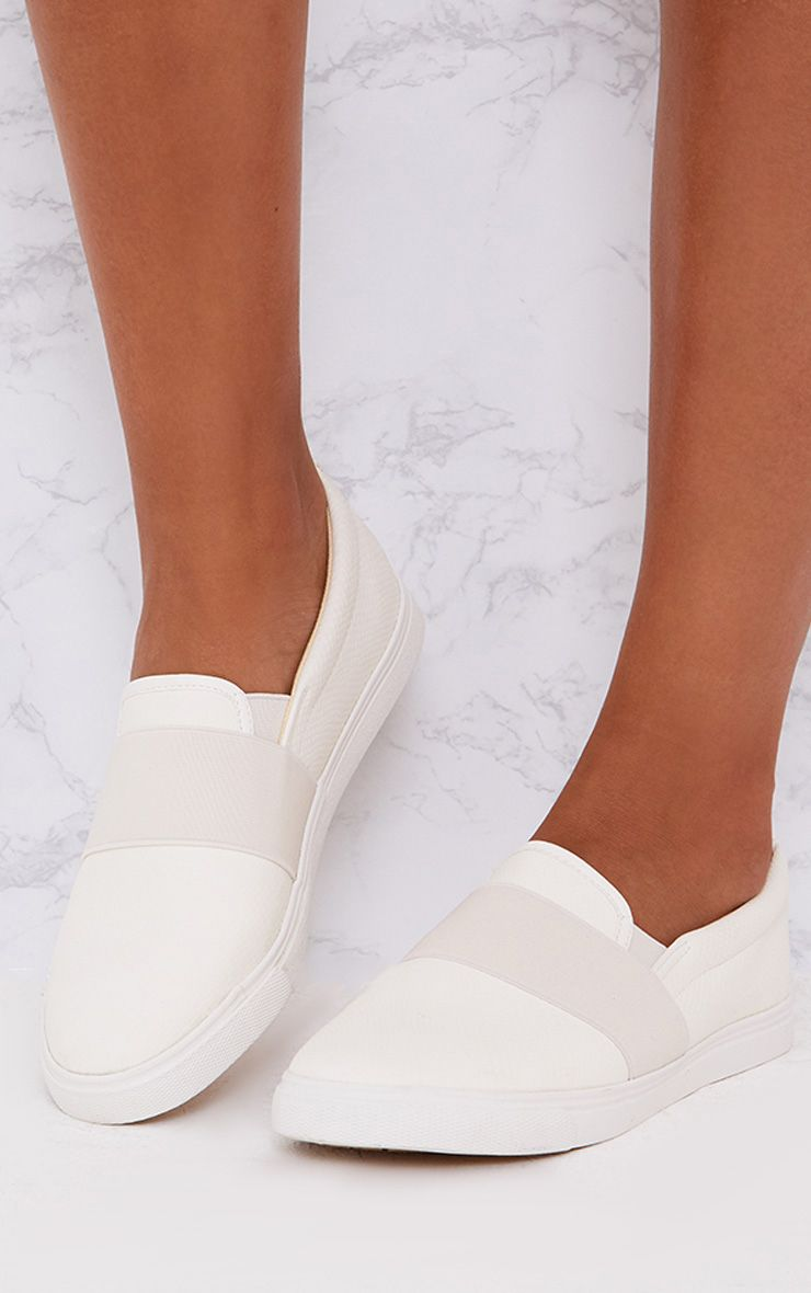 White Faux Leather Slip on Pumps