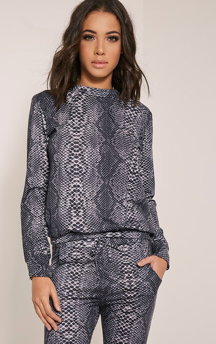 Tayah Grey Snakeprint Tracksuit Sweatshirt 1