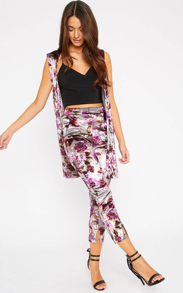 Prisa Purple & Grey Floral Print Velvet Trousers Multi