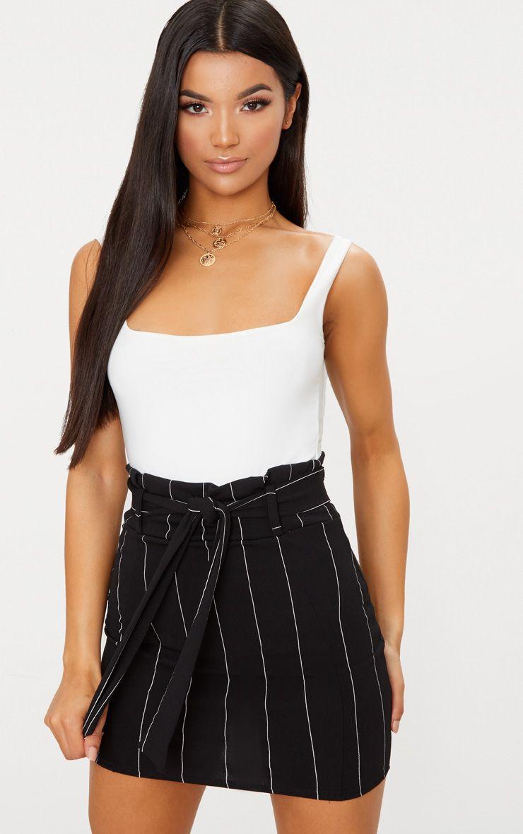 Black Pinstripe Tie Waist Mini Skirt