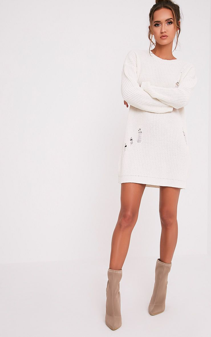 Nico Distressed Cream Oversized Knitted Dress 1