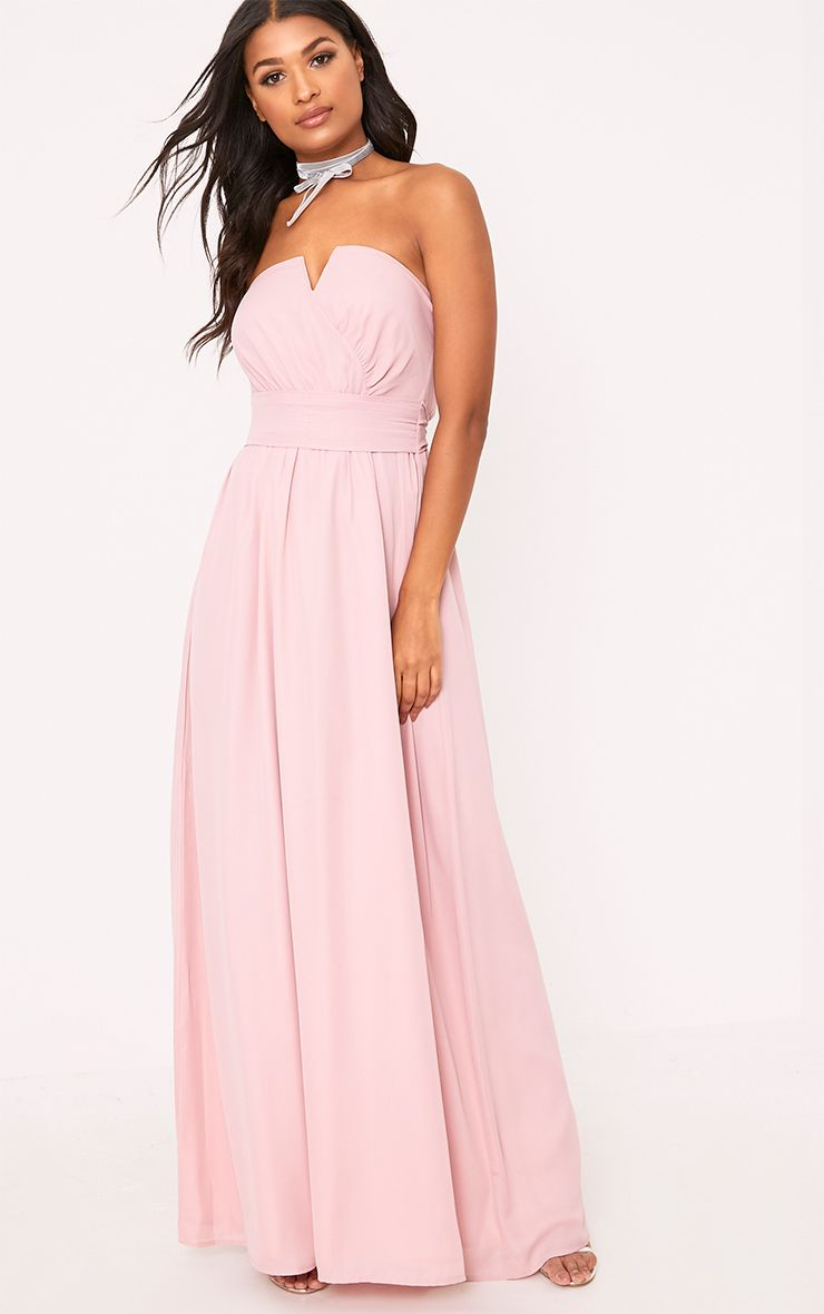 Lainey Dusty Pink Bandeau Maxi Dress