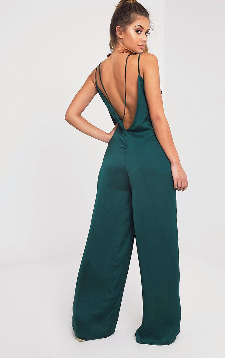 Product photo of Elisabeth green oversized satin harness jumpsuit green