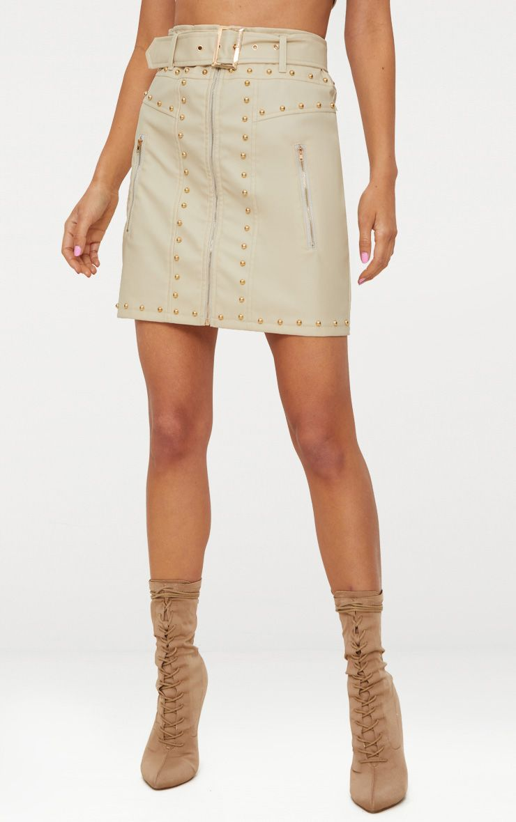 STONE FAUX LEATHER STUD DETAIL BELTED MINI SKIRT