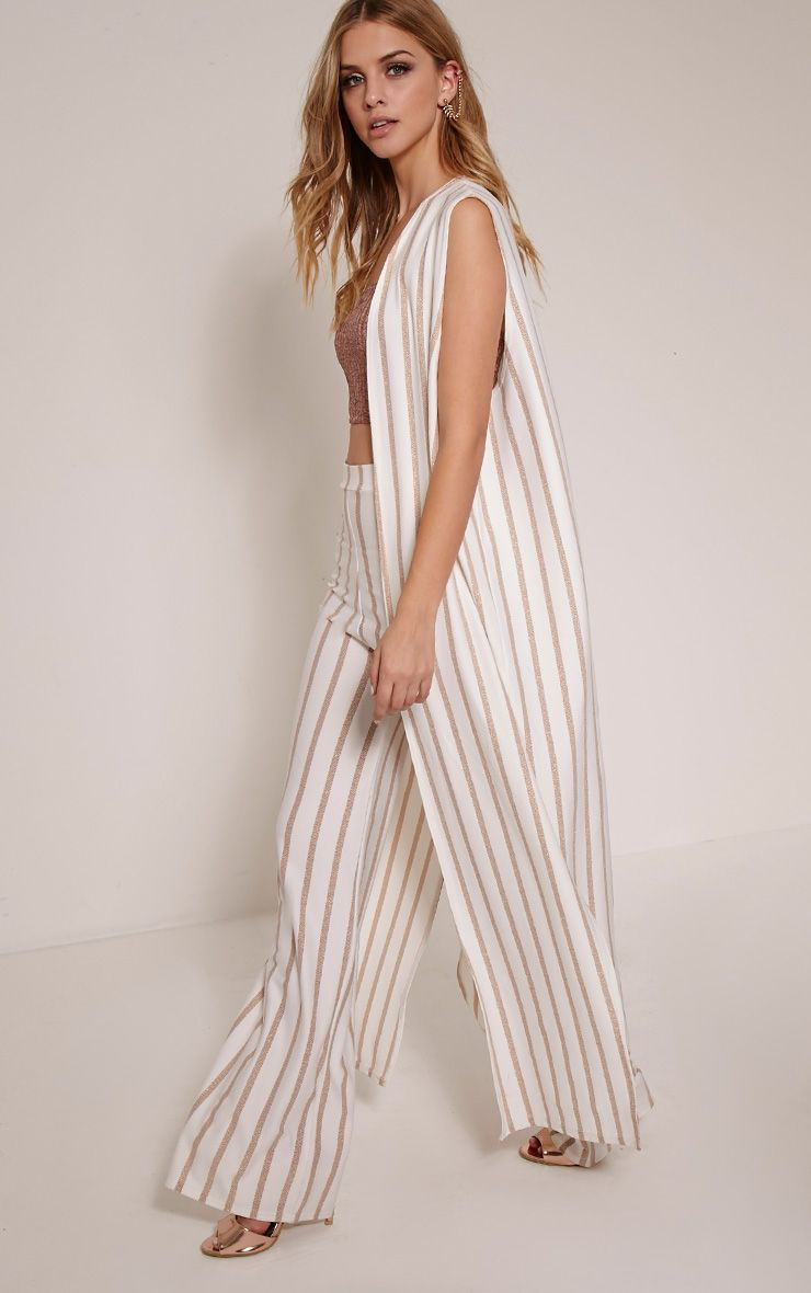 Sheri White Pinstripe Sleeveless Duster Jacket 1