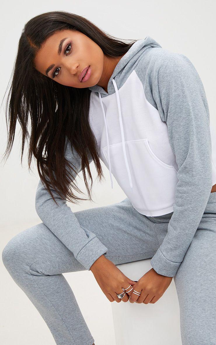 Grey Contrast Detail Pocket Front Hoodie