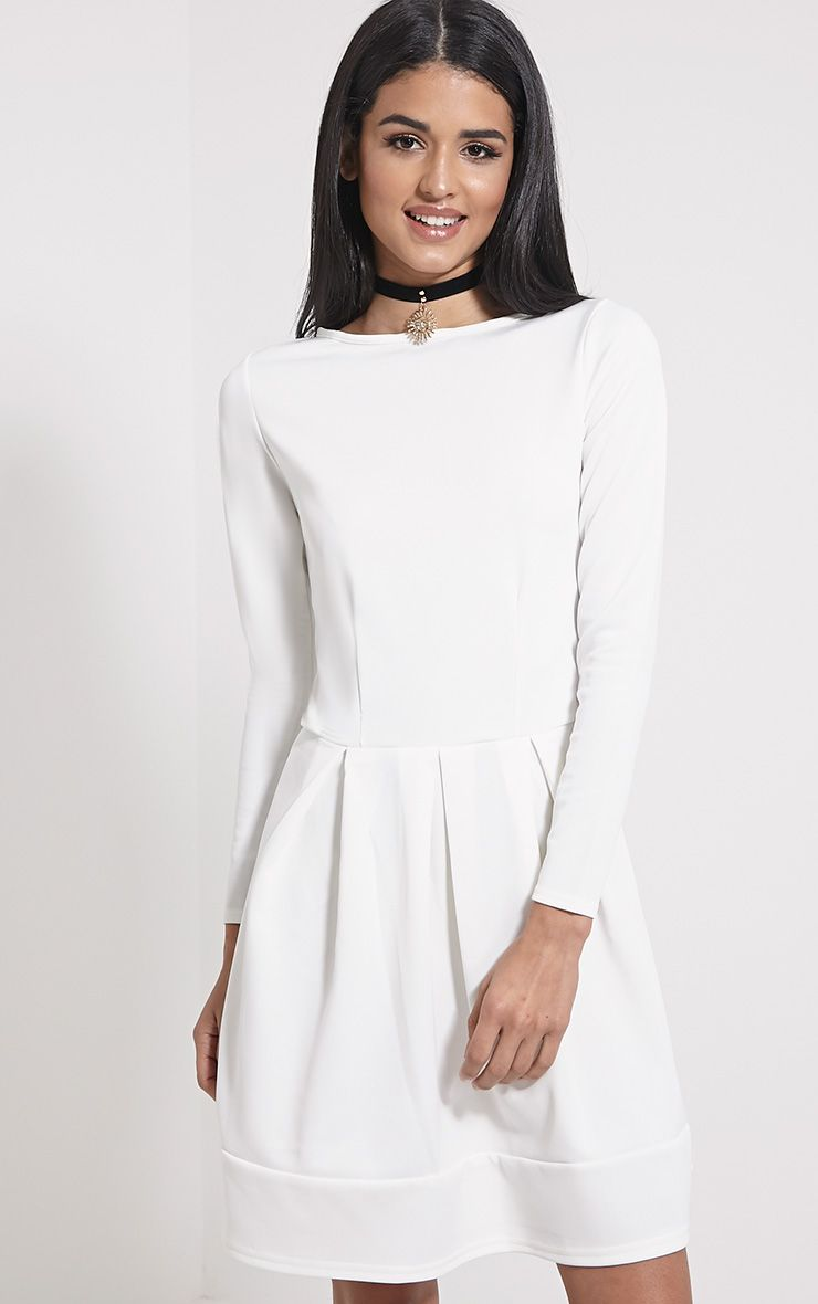 Grace Cream Box Pleat Long Sleeve Skater Dress 1