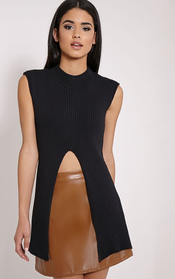 Alliah Black Split Front Sleeveless Knitted Jumper 1
