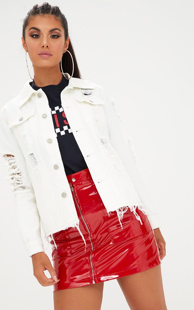 Veste en jean surdimensionnée aspect vieilli blanche