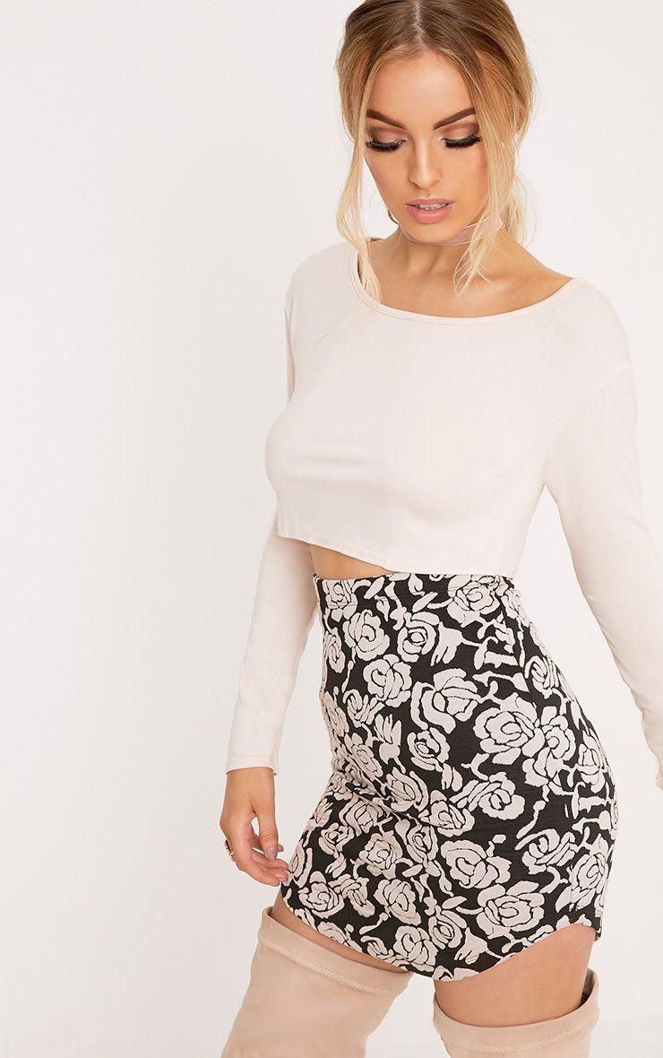 Shayla Nude Floral Textured Curve Hem Mini Skirt