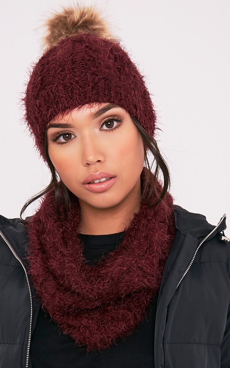 Two Pack Burgundy Knitted Beanie and Snood
