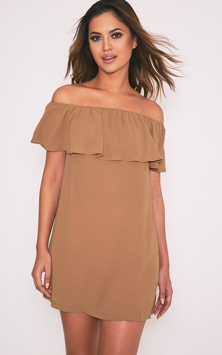 Poppy Camel Bardot Chiffon Mini Dress
