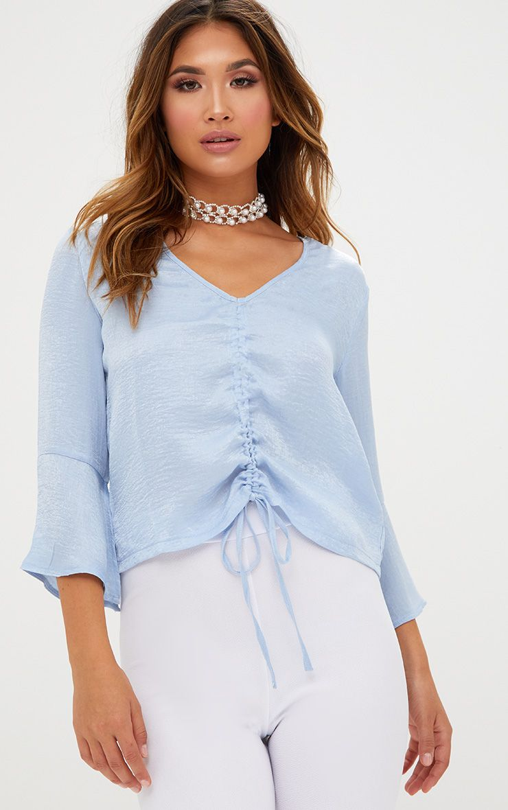 Pale Blue Ruched Front Frill Sleeve Silk Top