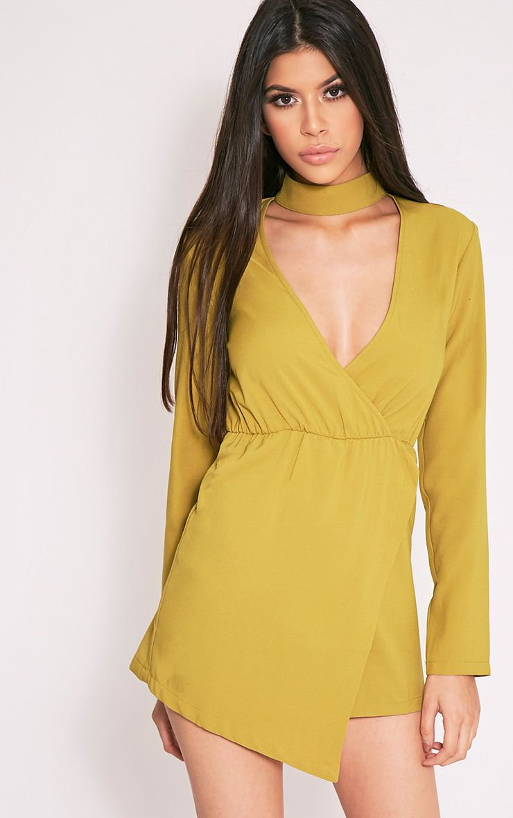 Isobella Dark Lime Choker Detail Skort Playsuit