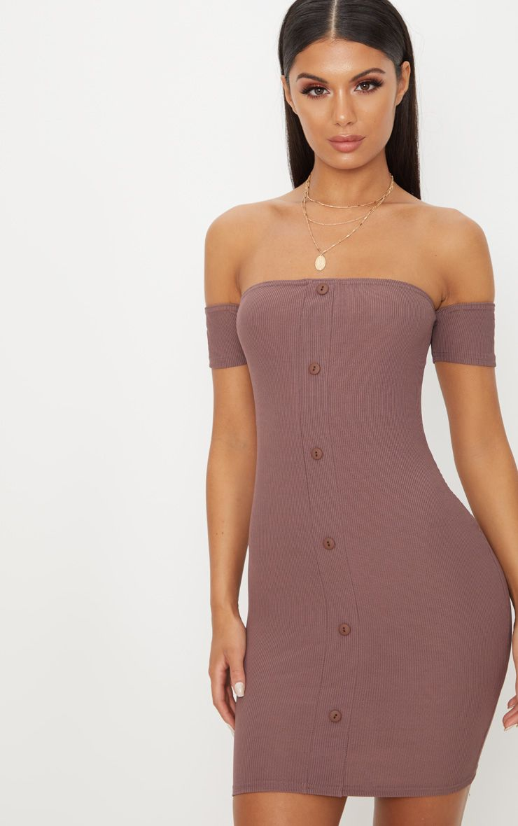 Dark Mauve Ribbed Button Detail Bardot Bodycon Dress