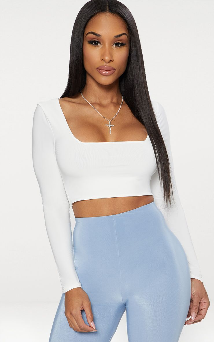White Second Skin Square Neck Long Sleeve Crop Top