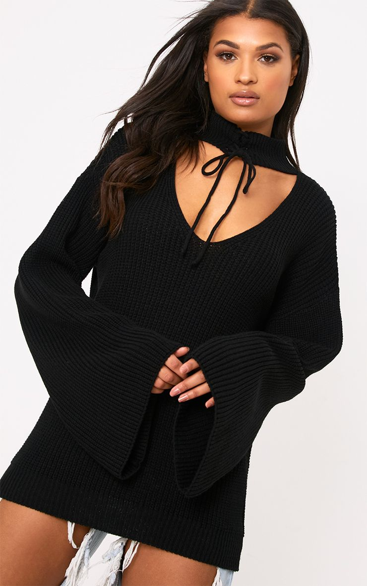Jennah Black Tie Choker Knit Jumper