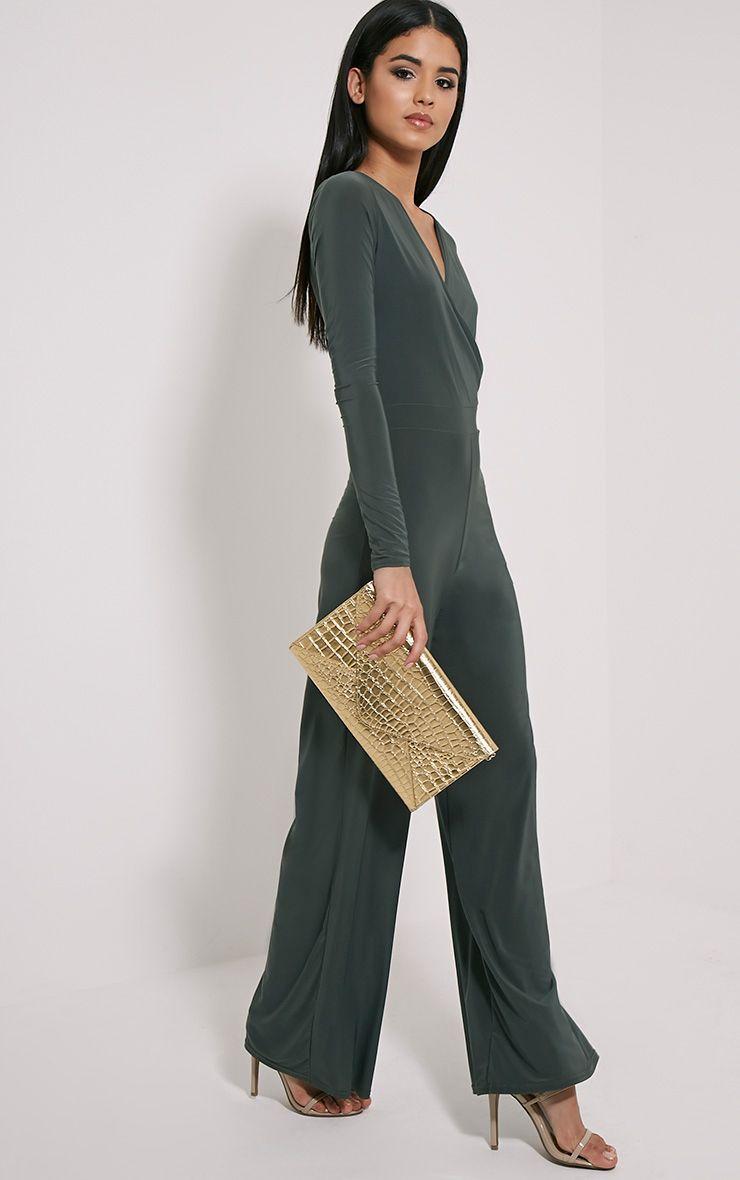 Jan Khaki Wrap Slinky Jumpsuit Green